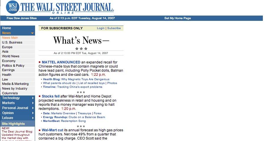 Webby Award Winner - The Wall Street Journal Online