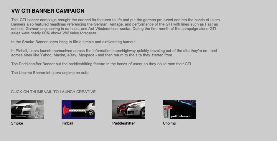Webby Award Winner - GTI Banners – Smoke, Paddleshifter, Pinball, Unpimp