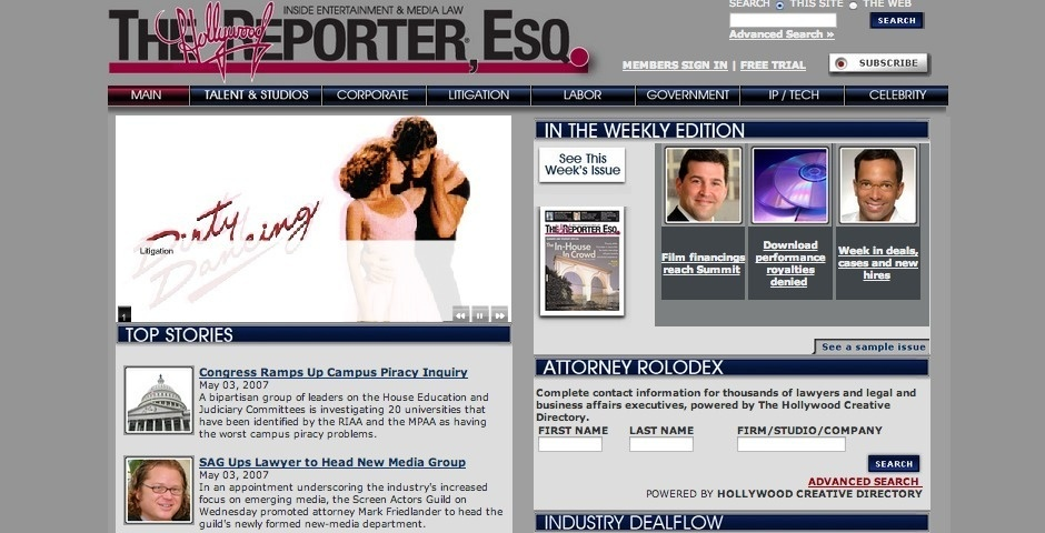 Webby Award Nominee - The Hollywood Reporter ESQ.