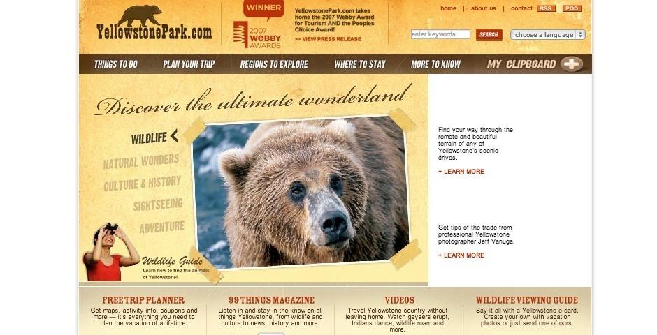 2007 Webby Winner - YellowstonePark.com