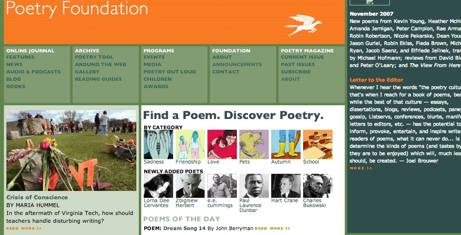 Webby Award Winner - Poetry Foundation