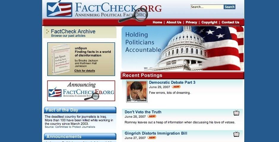 2007 Webby Winner - FactCheck