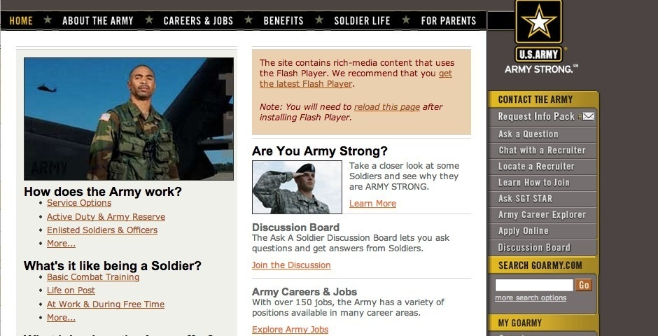 2007 Webby Winner - Army Strong Launch Site