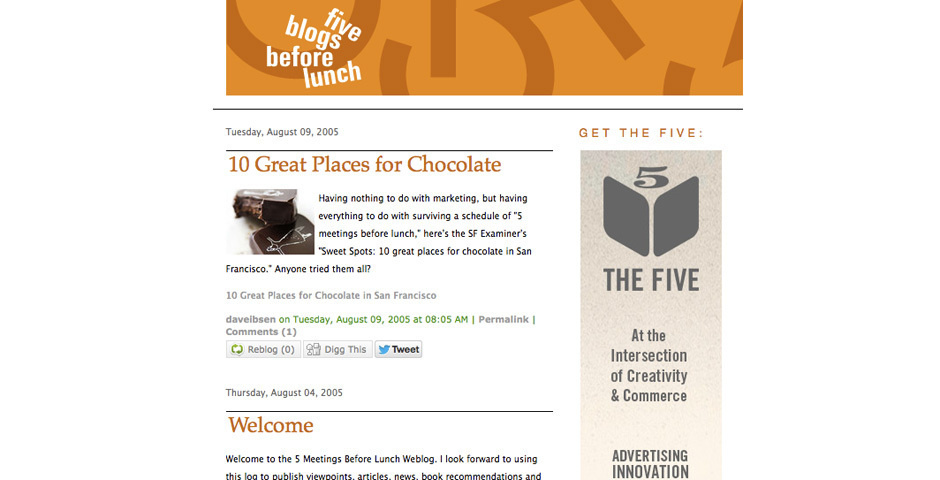 2006 Webby Winner - 5 Blogs Before Lunch