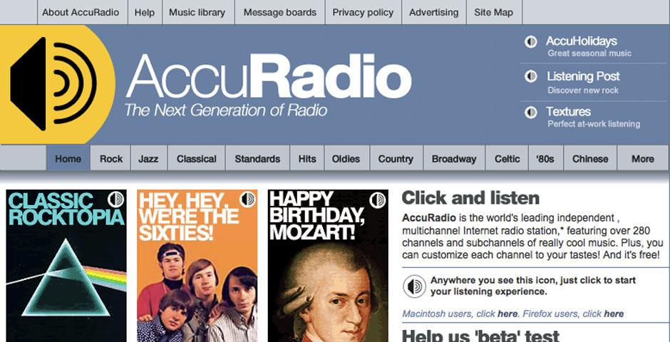 2006 Webby Winner - AccuRadio