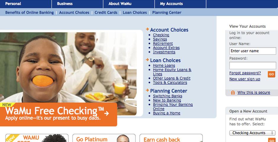 Nominee - Washington Mutual Web Site