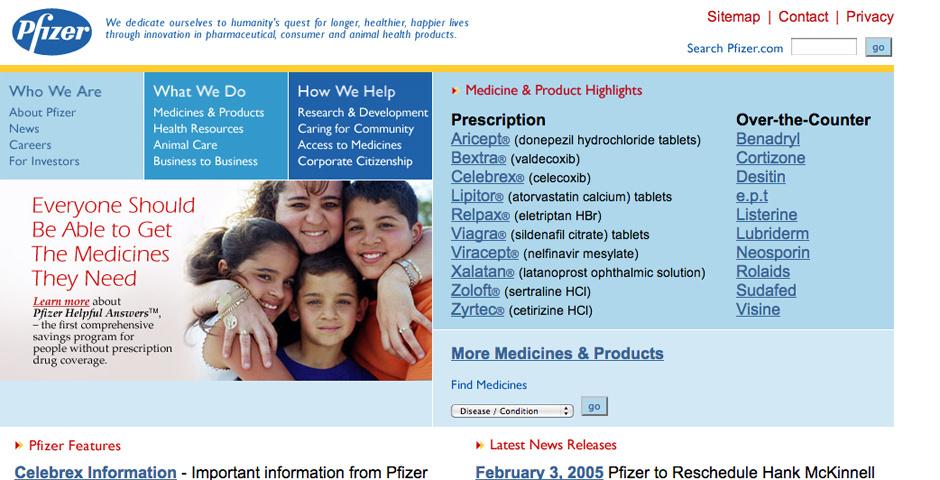 2005 Webby Winner - Pfizer Corporate Web Site