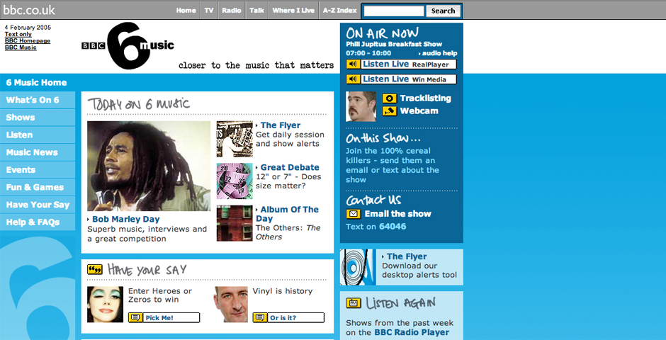 Nominee - BBC 6 Music site