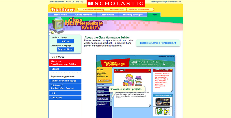 Webby Award Nominee - Scholastic.com Class Homepage Builder