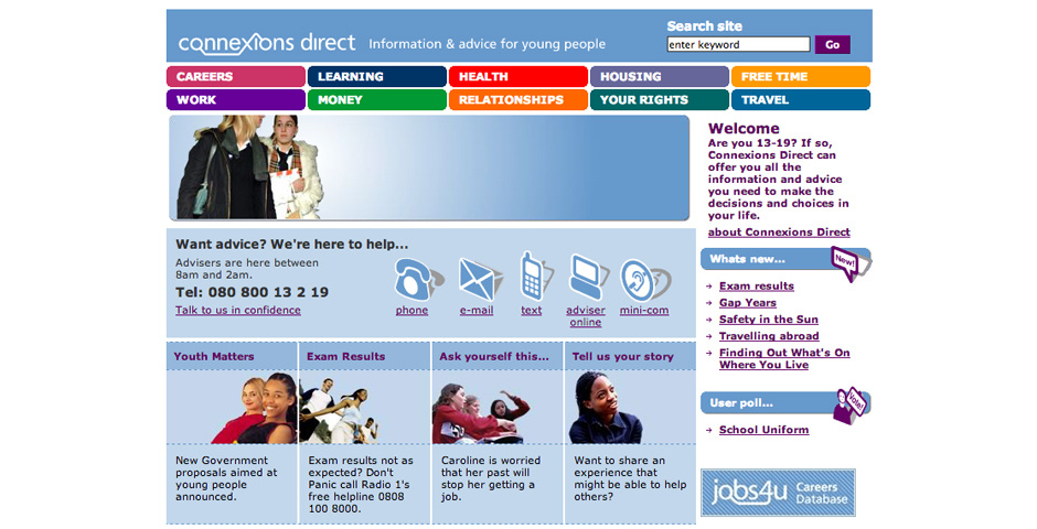 2005 Webby Winner - Connexions Direct Website