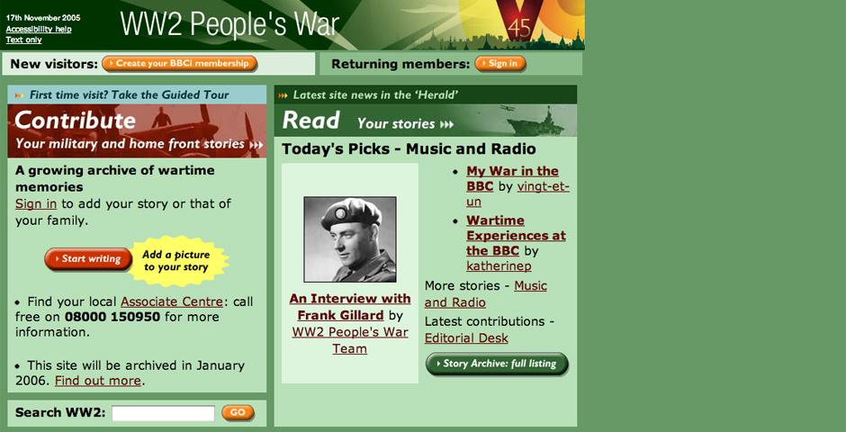 Webby Award Nominee - BBC WW2 People\'s War