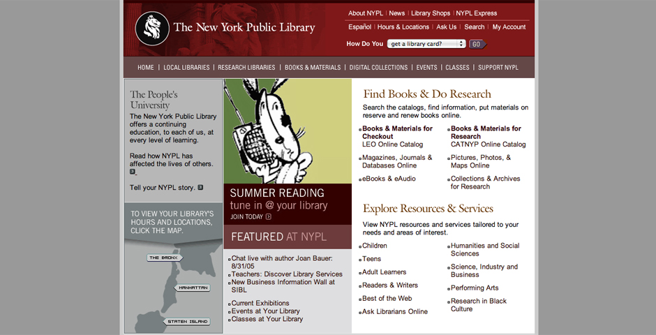 Nominee - The New York Public Library Website