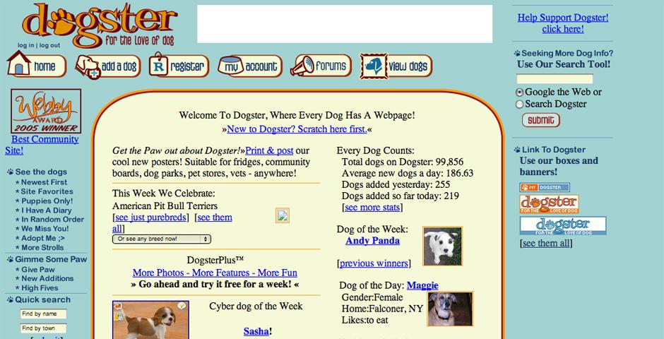 2005 Webby Winner - Dogster