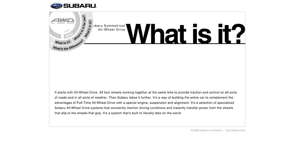 Webby Award Nominee - Subaru All-Wheel Drive Microsite