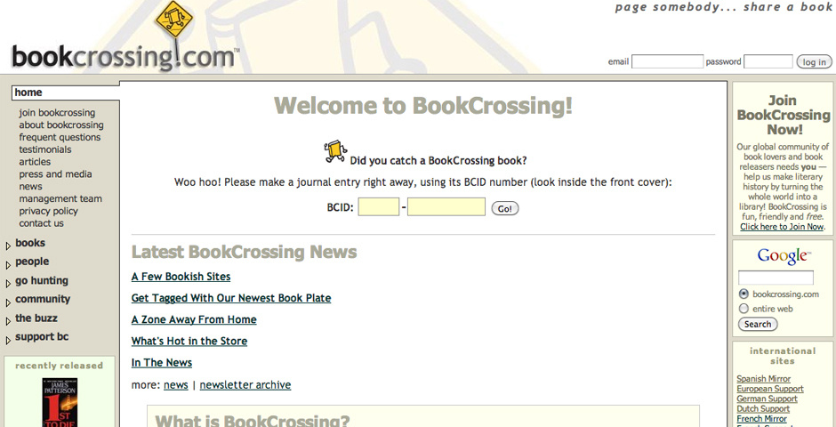 2005 Webby Winner - BookCrossing: Read and Release!