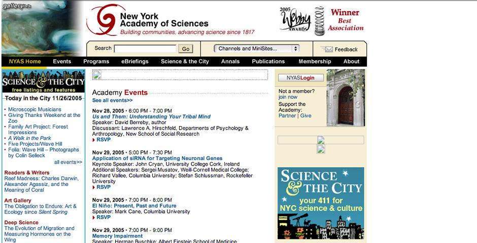 Webby Award Winner - New York Academy of Sciences