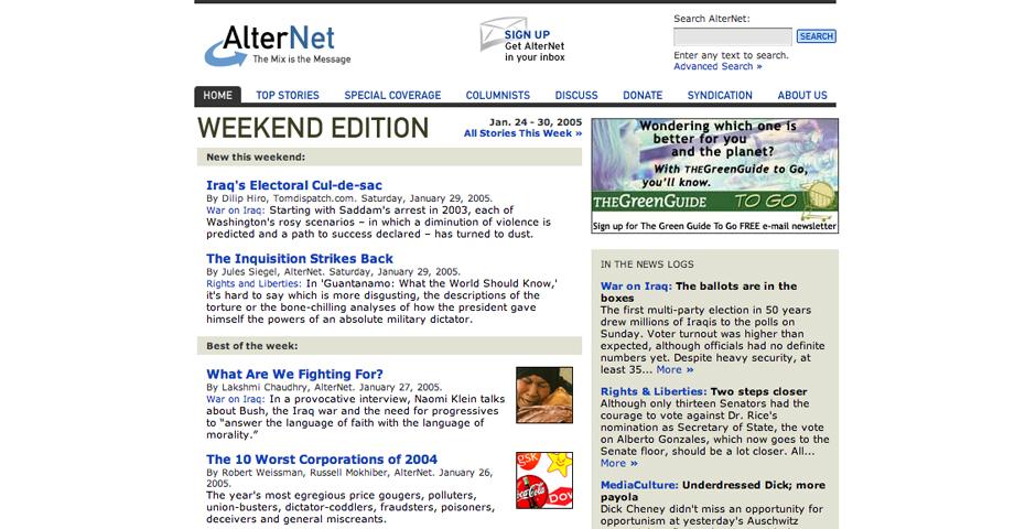 Webby Award Winner - AlterNet.org