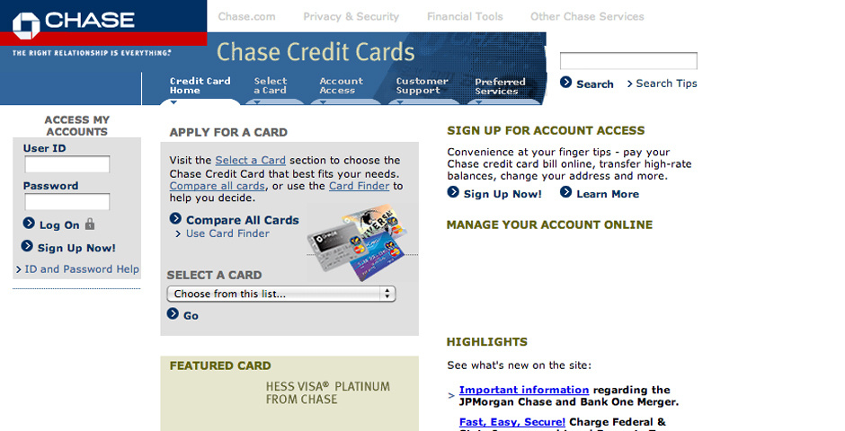 Webby Award Nominee - Chase Credit Card Services