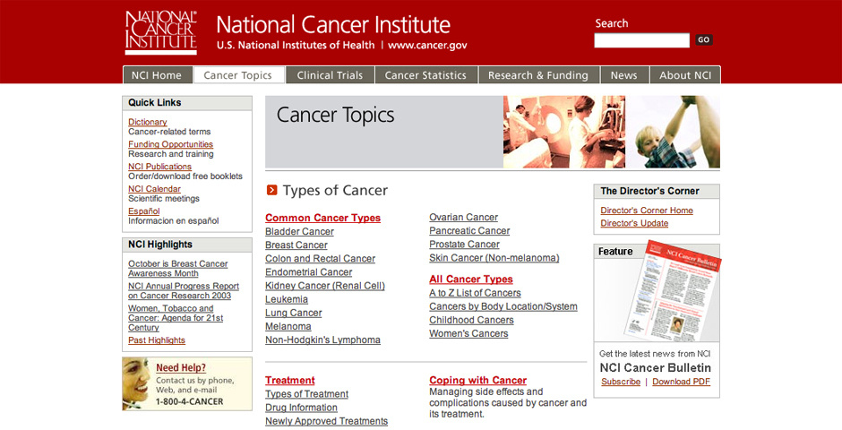 2005 Webby Winner - National Cancer Institute Web site