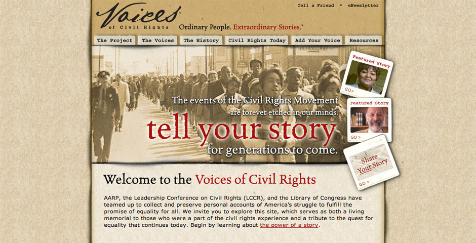 Webby Award Nominee - Voices of Civil Rights