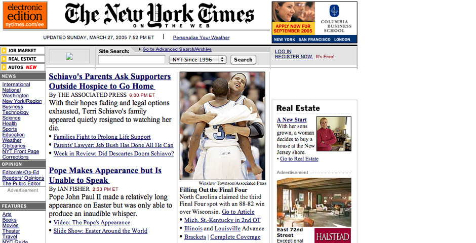 2005 Webby Winner - The New York Times on the Web