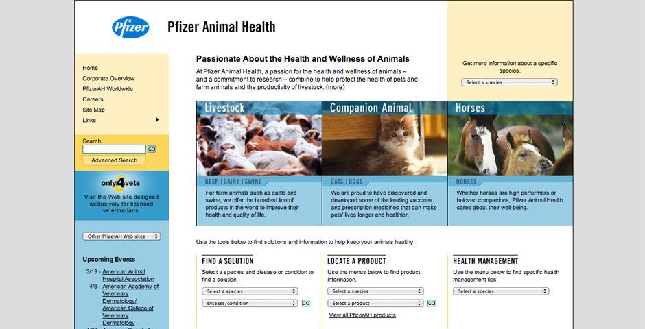 Webby Award Nominee - Pfizer Animal Health Corporate Site