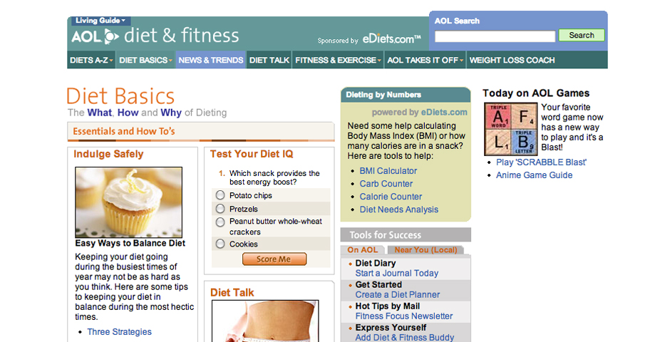 Nominee - AOL Diet & Fitness, AOL Keyword: Diet
