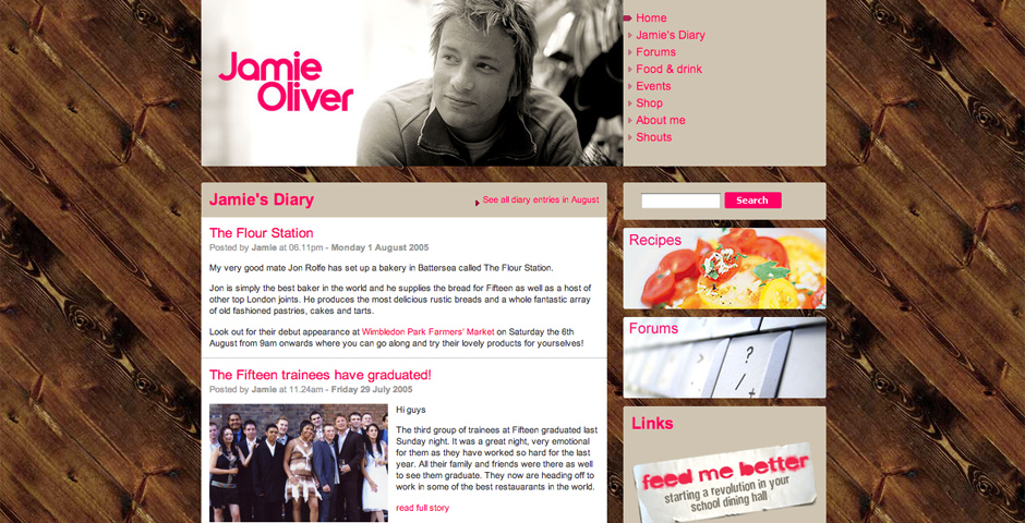 Webby Award Winner - Jamie Oliver website