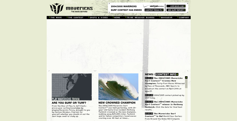 Webby Award Nominee - Mavericks Surf Contest