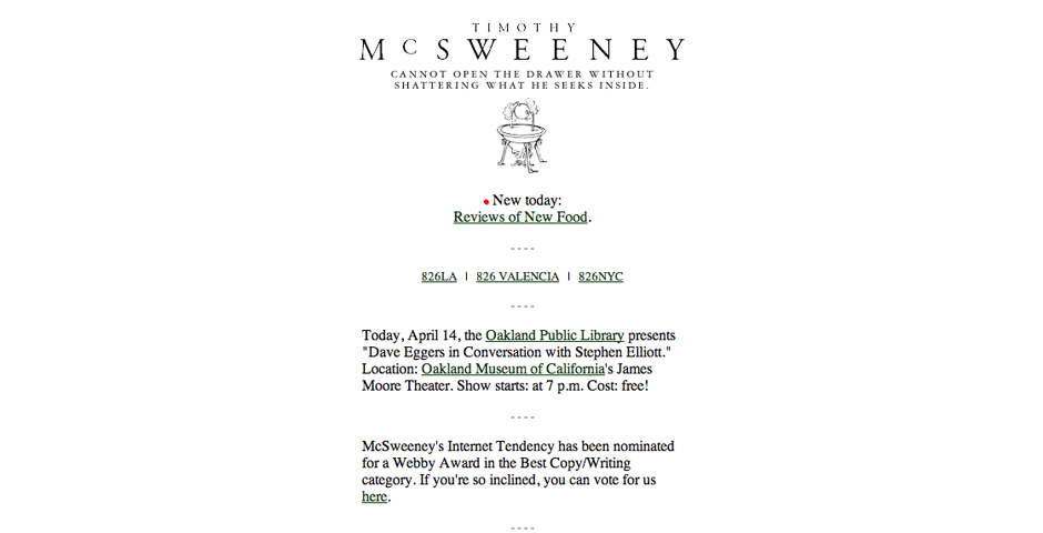 People's Voice / Webby Award Winner - McSweeney's Internet Tendency