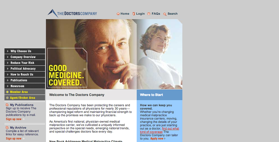 Nominee - The Doctors Company Web site