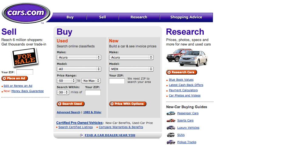 2005 Webby Winner - Cars.com