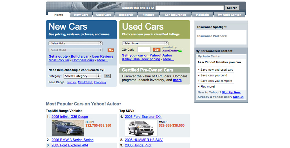 Webby Award Nominee - Yahoo! Autos
