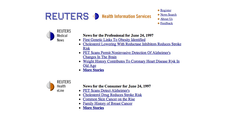 Webby Award Winner - Reuter's Health Information