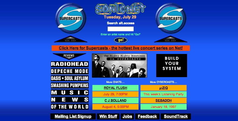 1997 Webby Winner - SonicNet