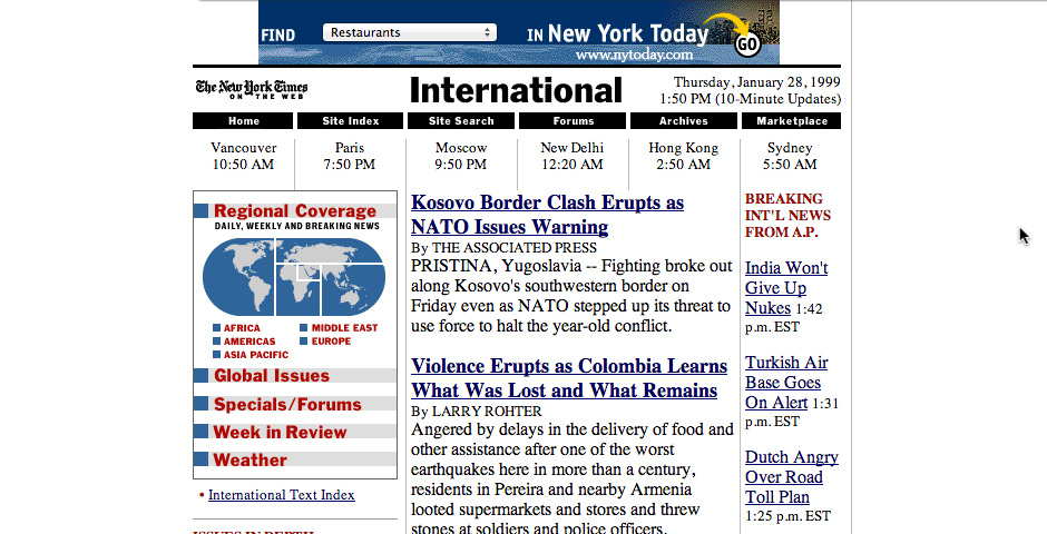 Webby Award Nominee - The New York Times on the Web