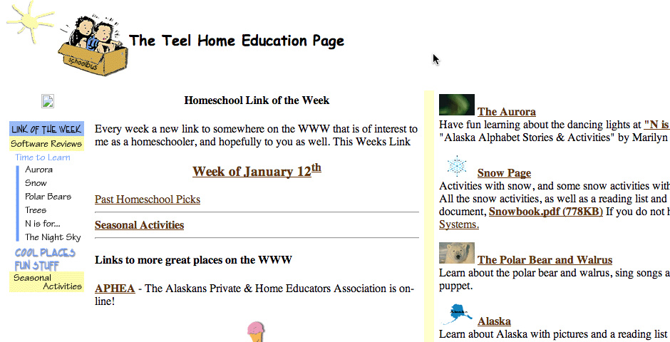 Webby Award Nominee - The Home Education Page