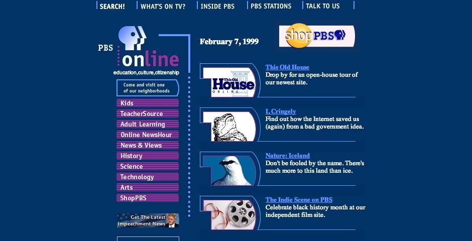 1999 Webby Winner - PBS Online