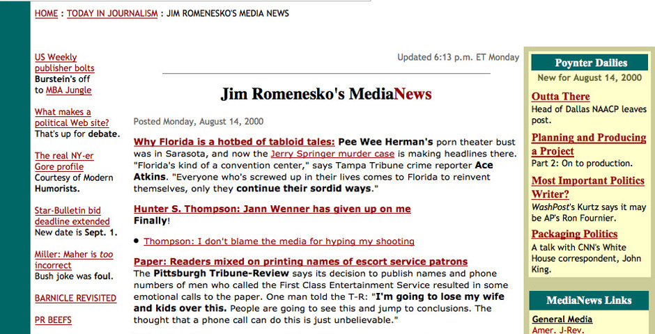 2000 Webby Winner - Jim Romenesko\'s Media News