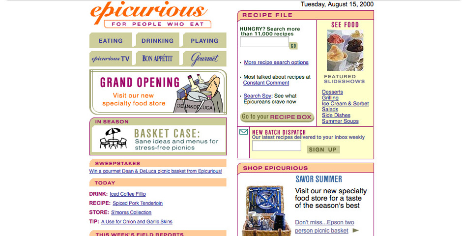 Webby Award Winner - Epicurious