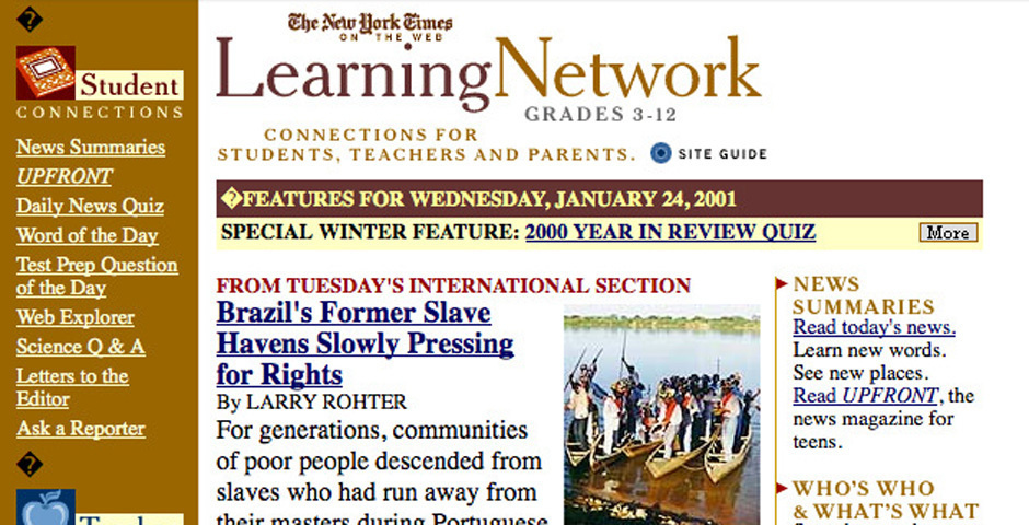 Webby Award Nominee - The New York Times Learning Network