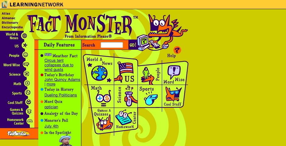 2001 Webby Winner - Fact Monster