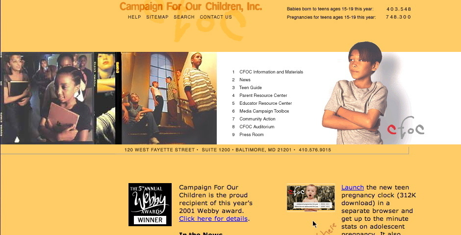 2001 Webby Winner - Campaign For Our Children