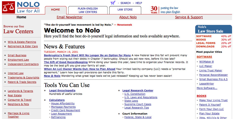 Webby Award Winner - Nolo Self-Help Law Center