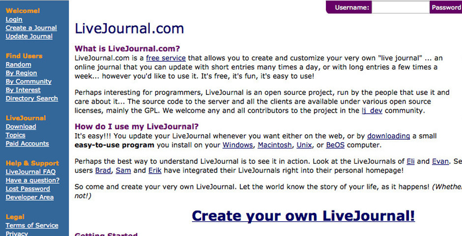 2001 Webby Winner - LiveJournal
