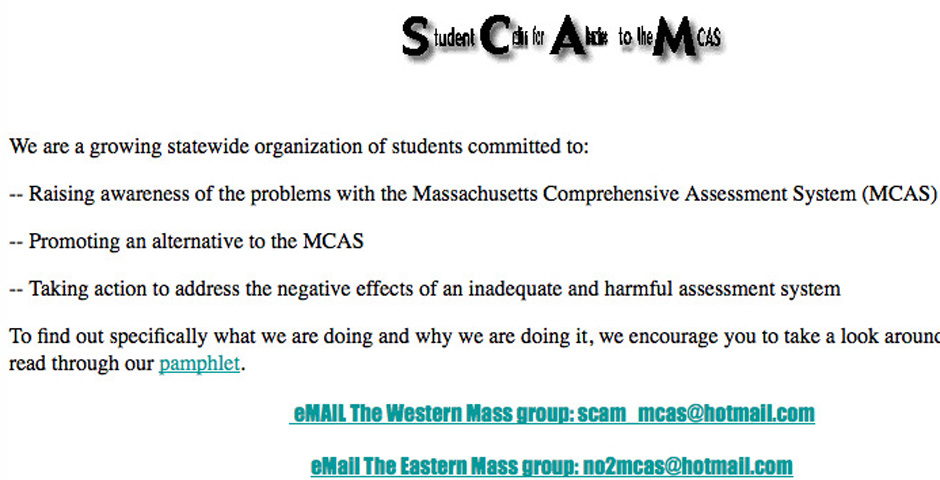 Nominee - Student Coalition for Alternatives to the MCAS