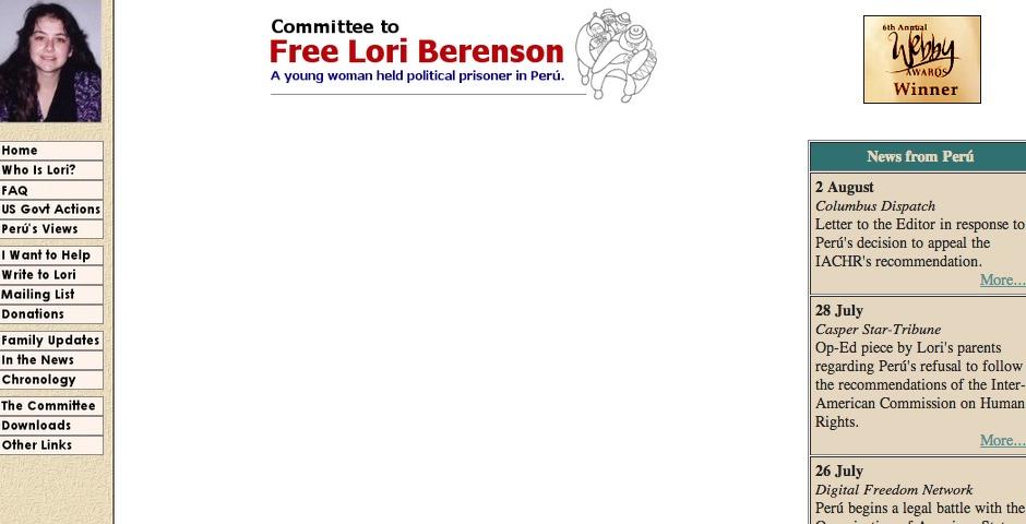 Webby Award Winner - The Committee to Free Lori Berenson