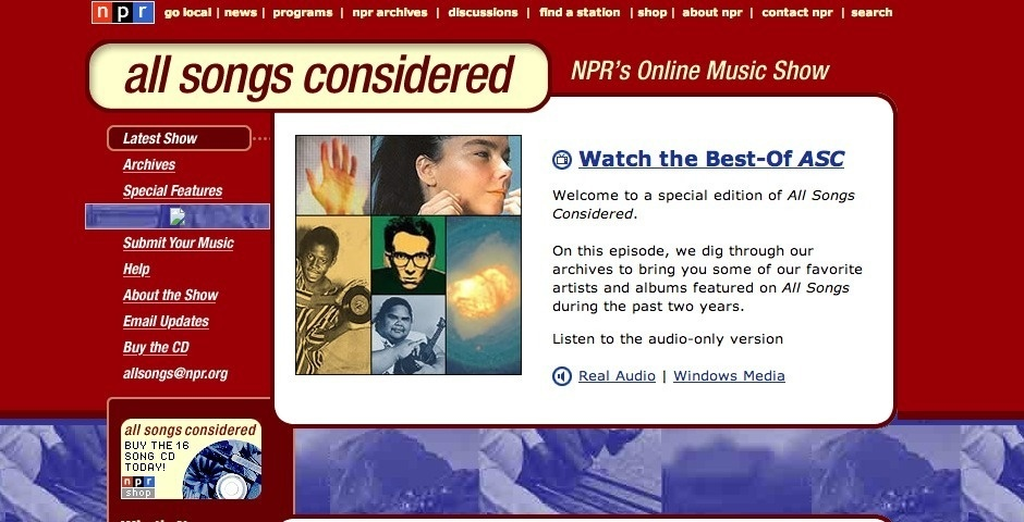 Webby Award Nominee - all songs considered