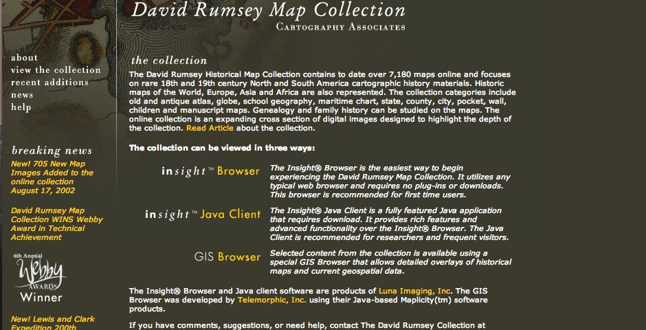 Webby Award Winner - David Rumsey Historical Map Collection