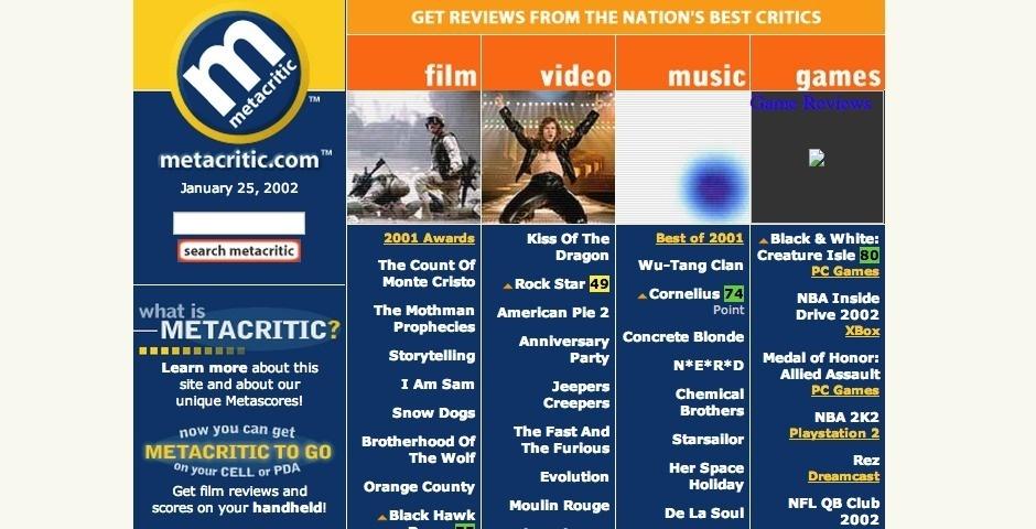 Webby Award Nominee - Metacritic